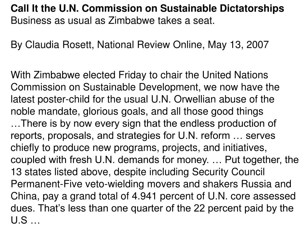Call It the U.N. Commission on Sustainable Dictatorships