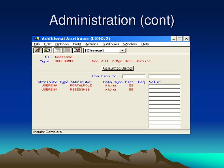 Administration (cont)