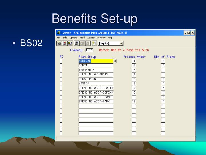 Benefits Set-up