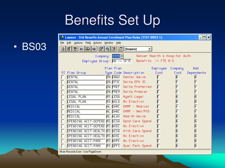 Benefits Set Up