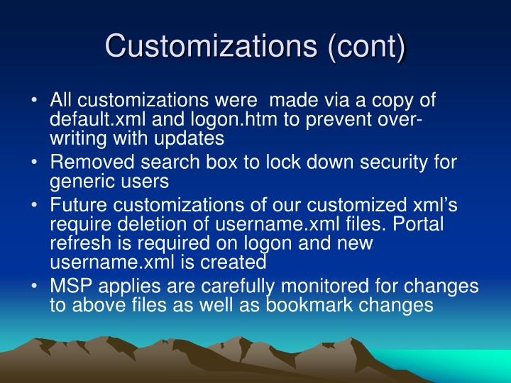 Customizations (cont)