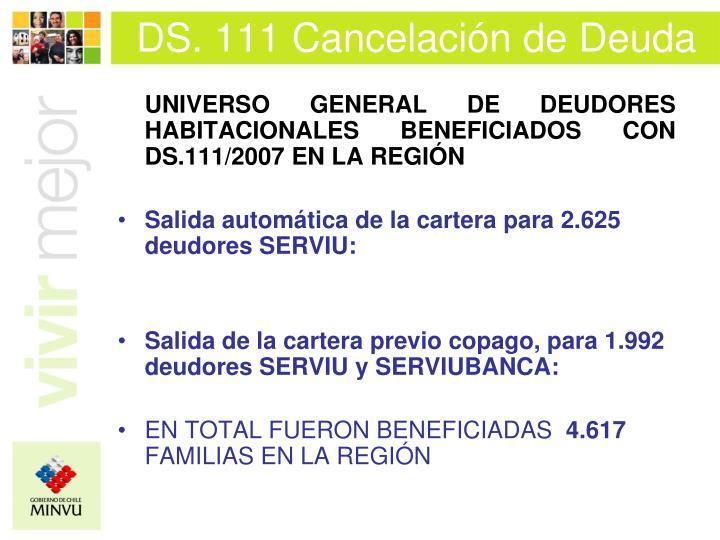 DS. 111 Cancelación de Deuda