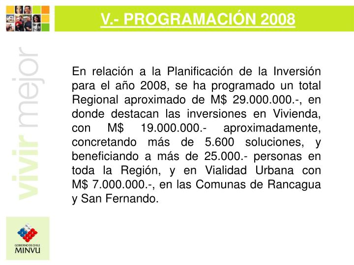 V.- PROGRAMACIÓN 2008