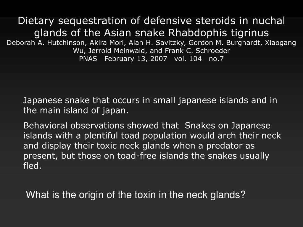 Dietary sequestration of defensive steroids in nuchal