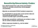 sensitivity uncertainty codes