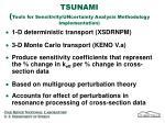 tsunami tools for sensitivity uncertainty analysis methodology implementation