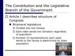 the constitution and the legislative branch of the government