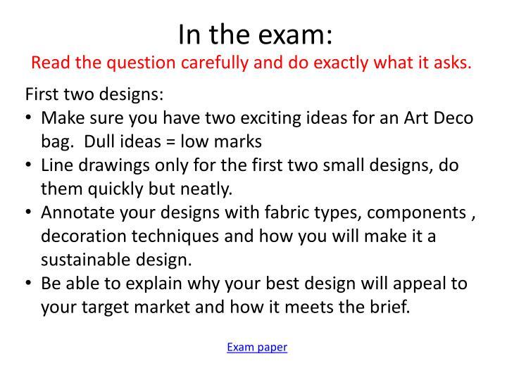 In the exam: