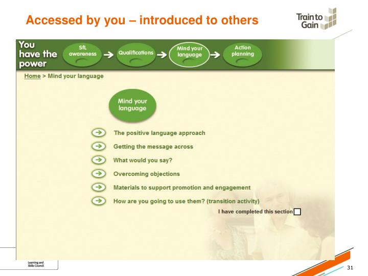 Accessed by you – introduced to others