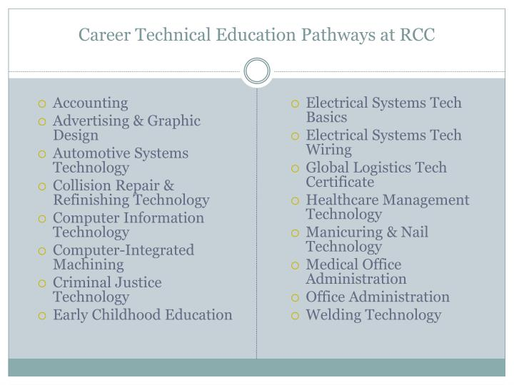Career Technical Education Pathways at RCC