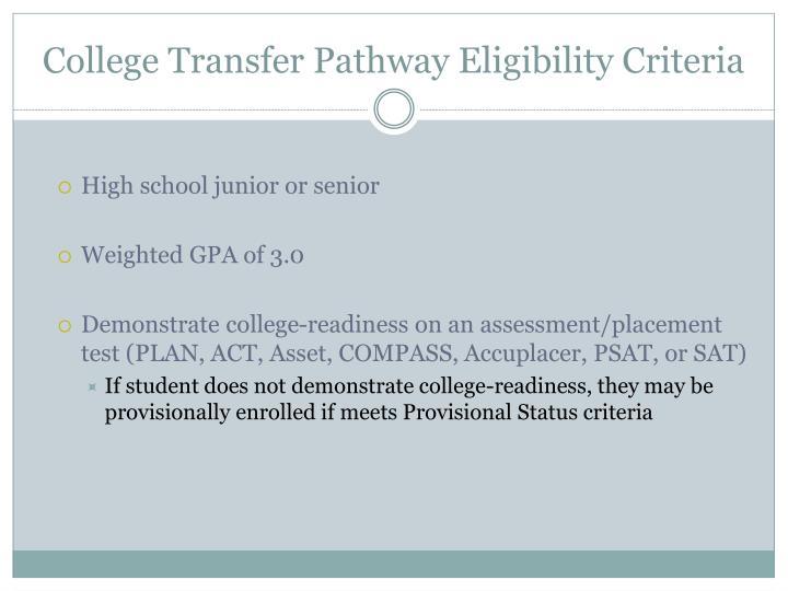 College Transfer Pathway Eligibility Criteria