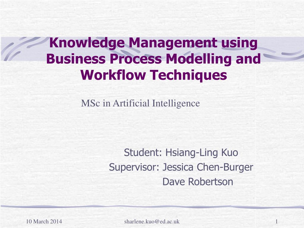 knowledge management using business process modelling and workflow techniques l.