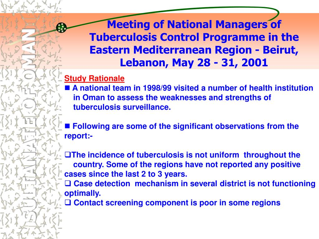 Meeting of National Managers of Tuberculosis Control Programme in the Eastern Mediterranean Region - Beirut, Lebanon, May 28 - 31, 2001