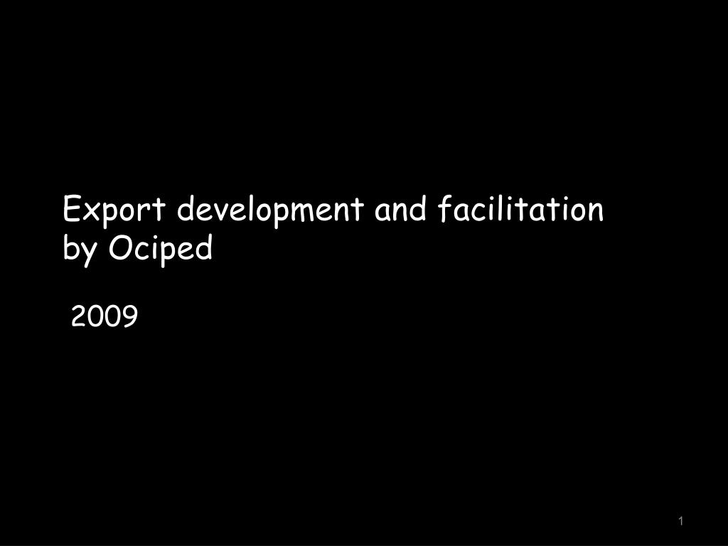 Export development and facilitation