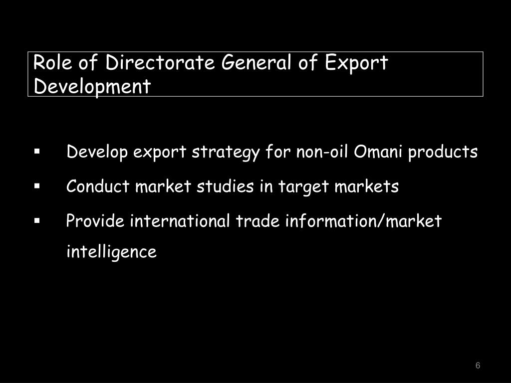 Role of Directorate General of Export Development