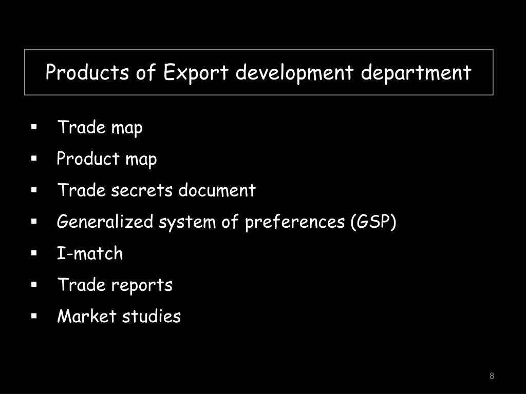 Products of Export development department