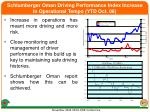 schlumberger oman driving performance index increase in operational tempo ytd oct 06