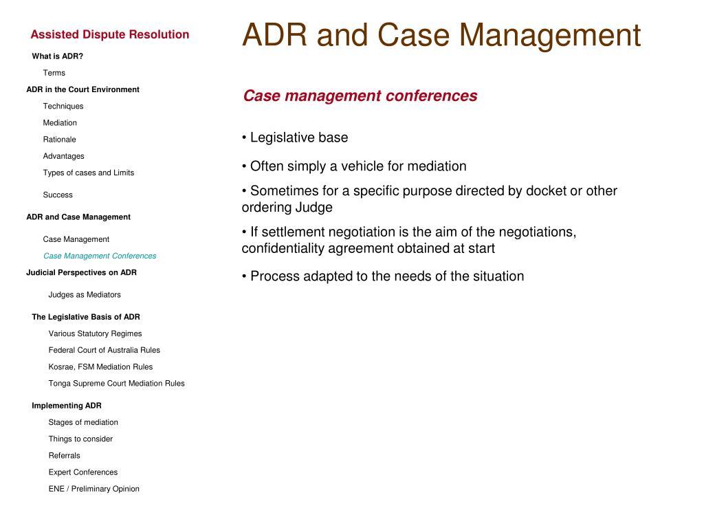 ADR and Case Management