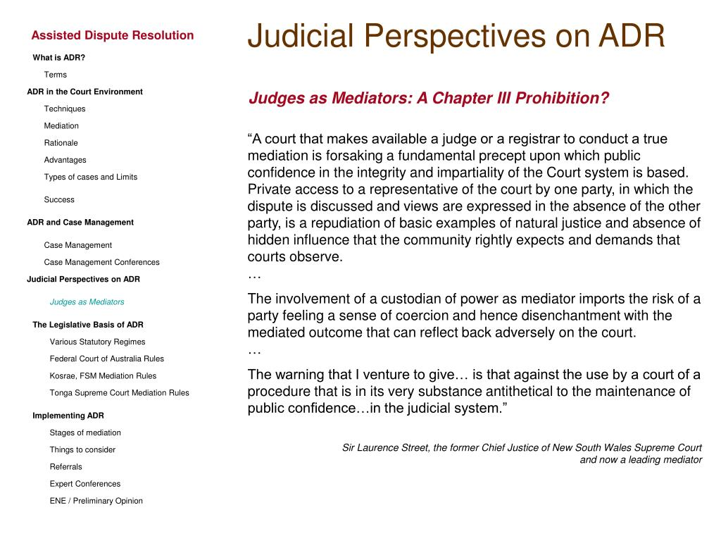 Judicial Perspectives on ADR