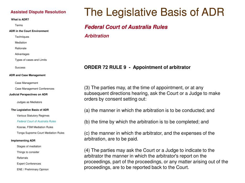 The Legislative Basis of ADR