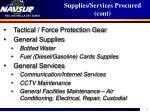 supplies services procured cont