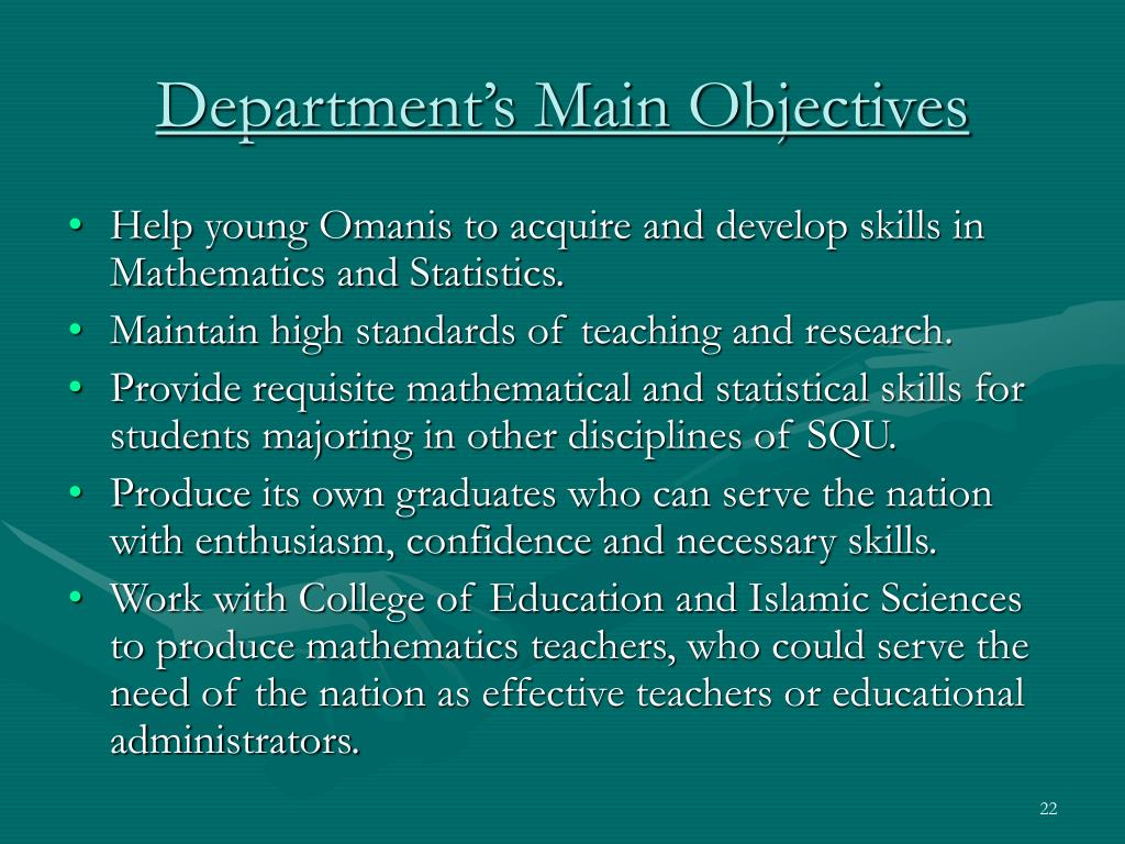 Department's Main Objectives