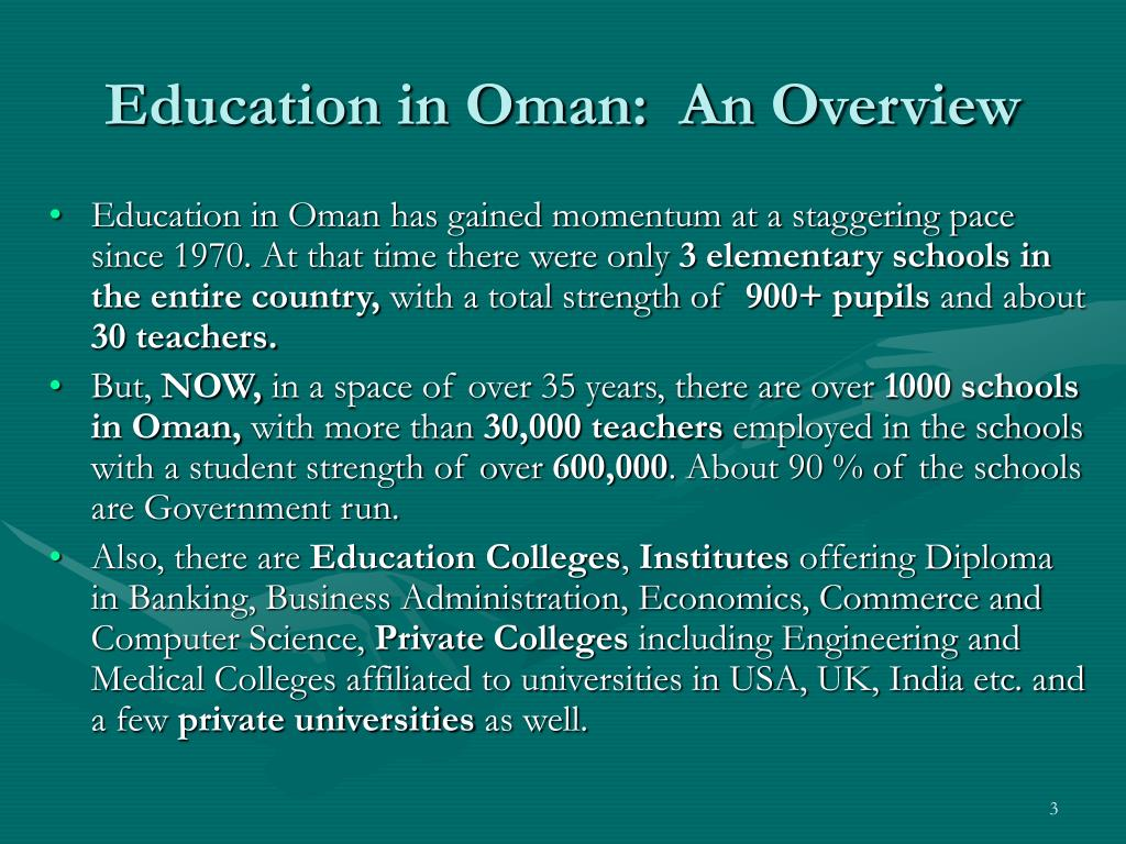 Education in Oman:  An Overview