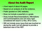 about the audit report