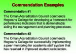 commendation examples