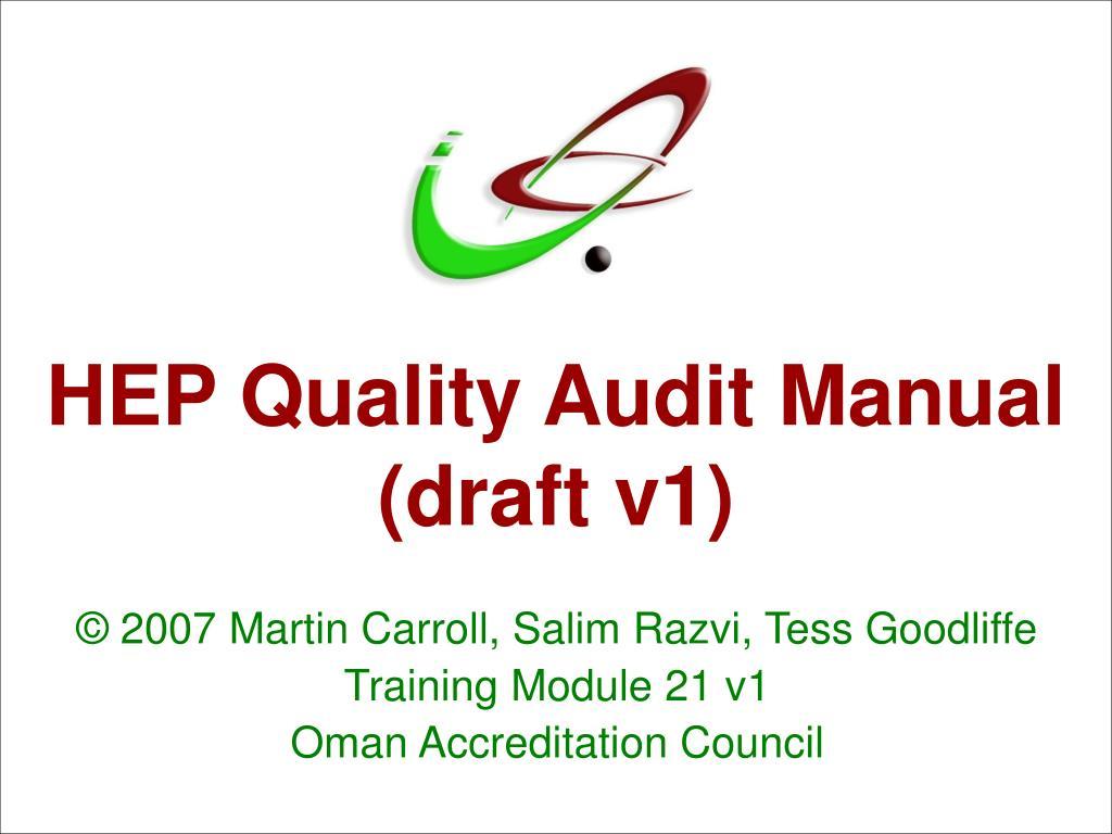 hep quality audit manual draft v1 l.