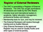 register of external reviewers