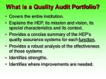what is a quality audit portfolio