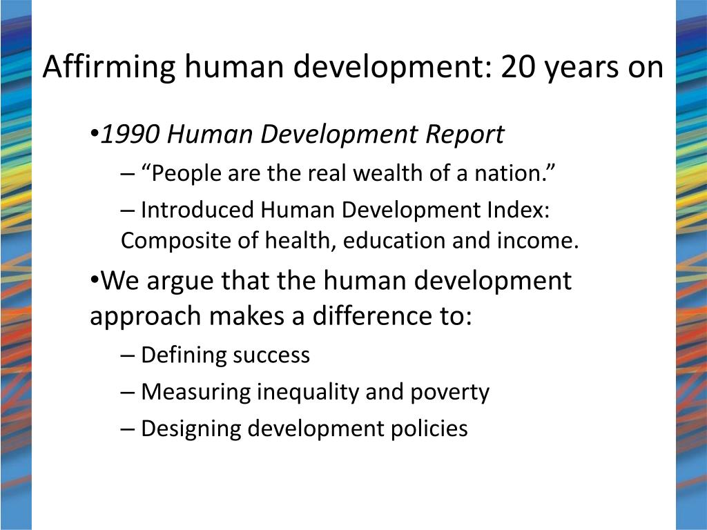 Affirming human development: 20 years on