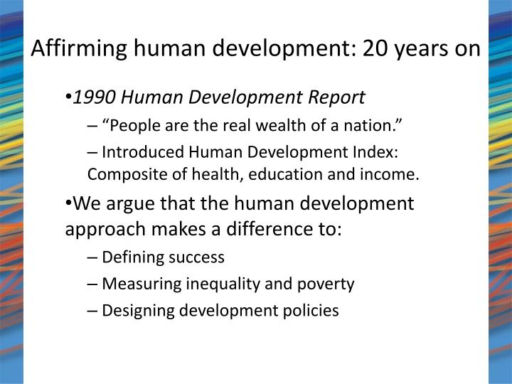 Affirming human development 20 years on