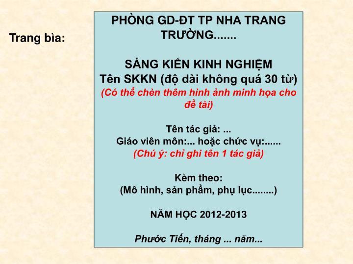PHÒNG GD-ĐT TP NHA TRANG