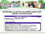 economic activity classification list short and detailed