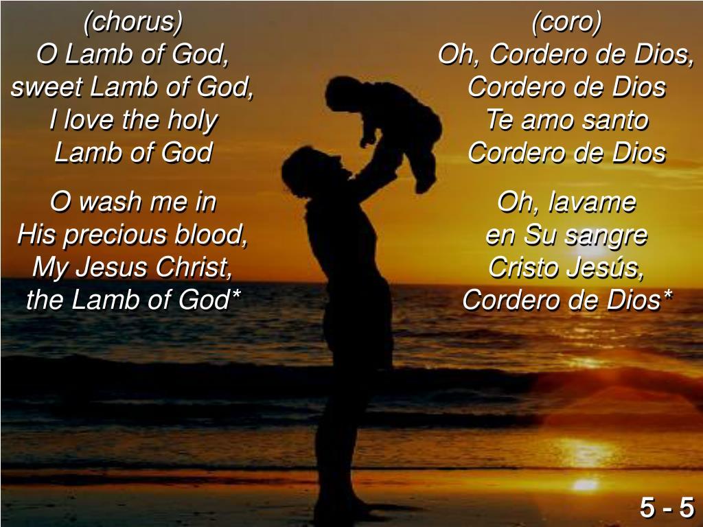 (chorus)                                 O Lamb of God,                            sweet Lamb of God,                                           I love the holy                                      Lamb of God