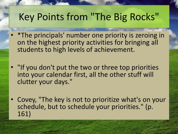 "Key Points from ""The Big Rocks"""