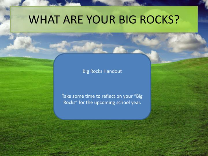 WHAT ARE YOUR BIG ROCKS?