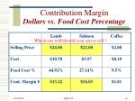 contribution margin dollars vs food cost percentage10