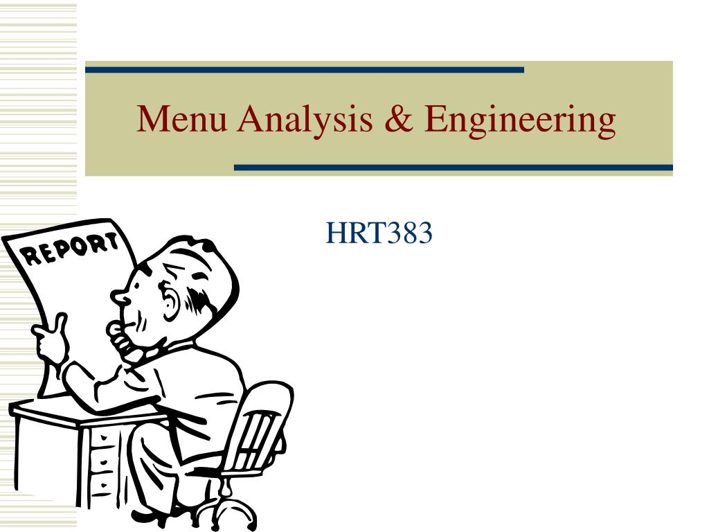 menu analysis engineering l.