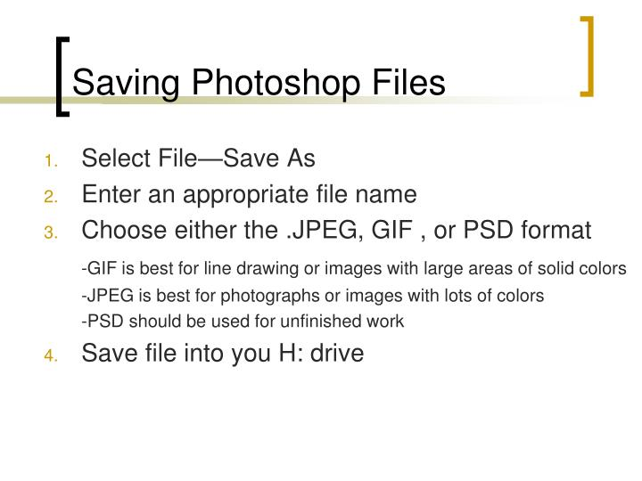Saving Photoshop Files