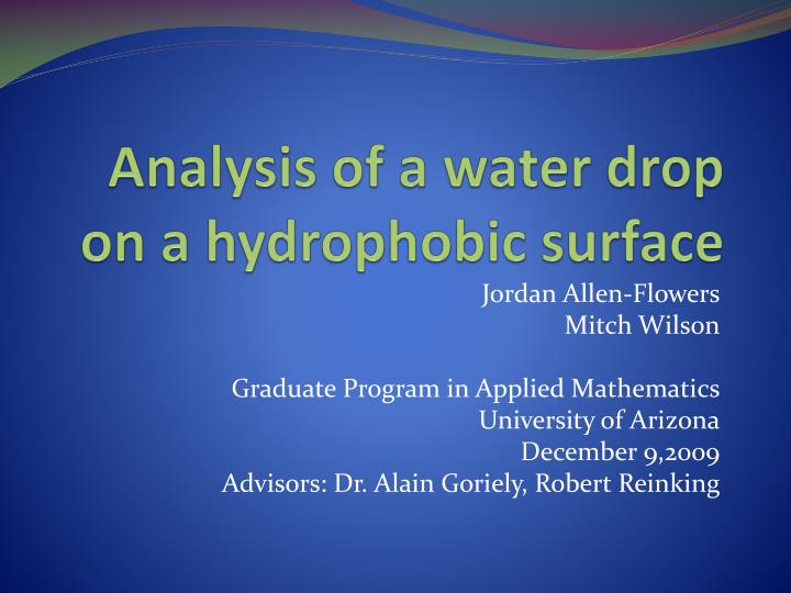analysis of a water drop on a hydrophobic surface n.