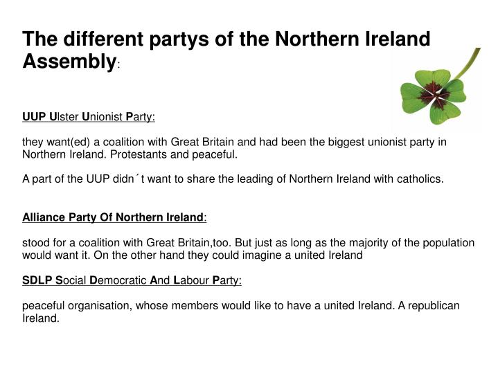 The different partys of the Northern Ireland Assembly