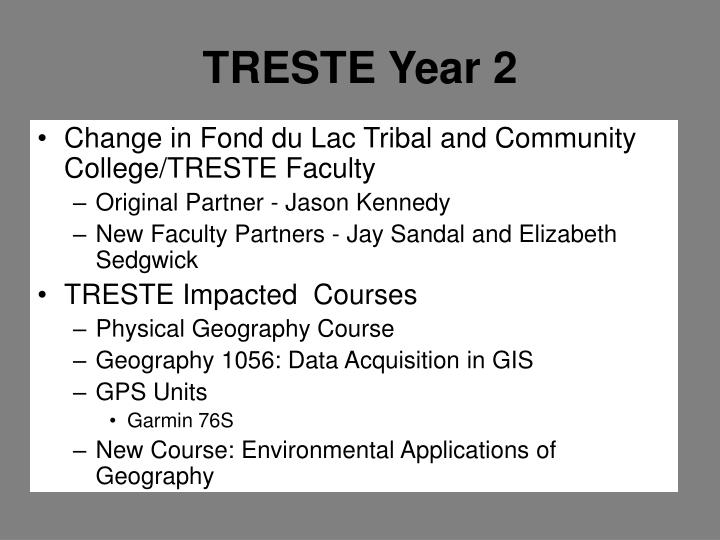 Change in Fond du Lac Tribal and Community College/TRESTE Faculty