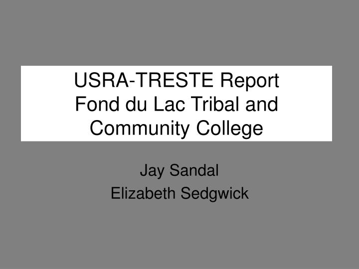 Usra treste report fond du lac tribal and community college