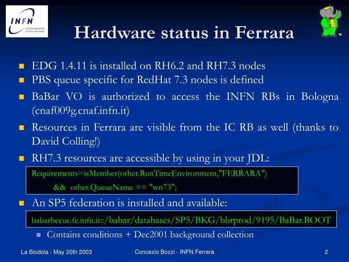 Hardware status in ferrara