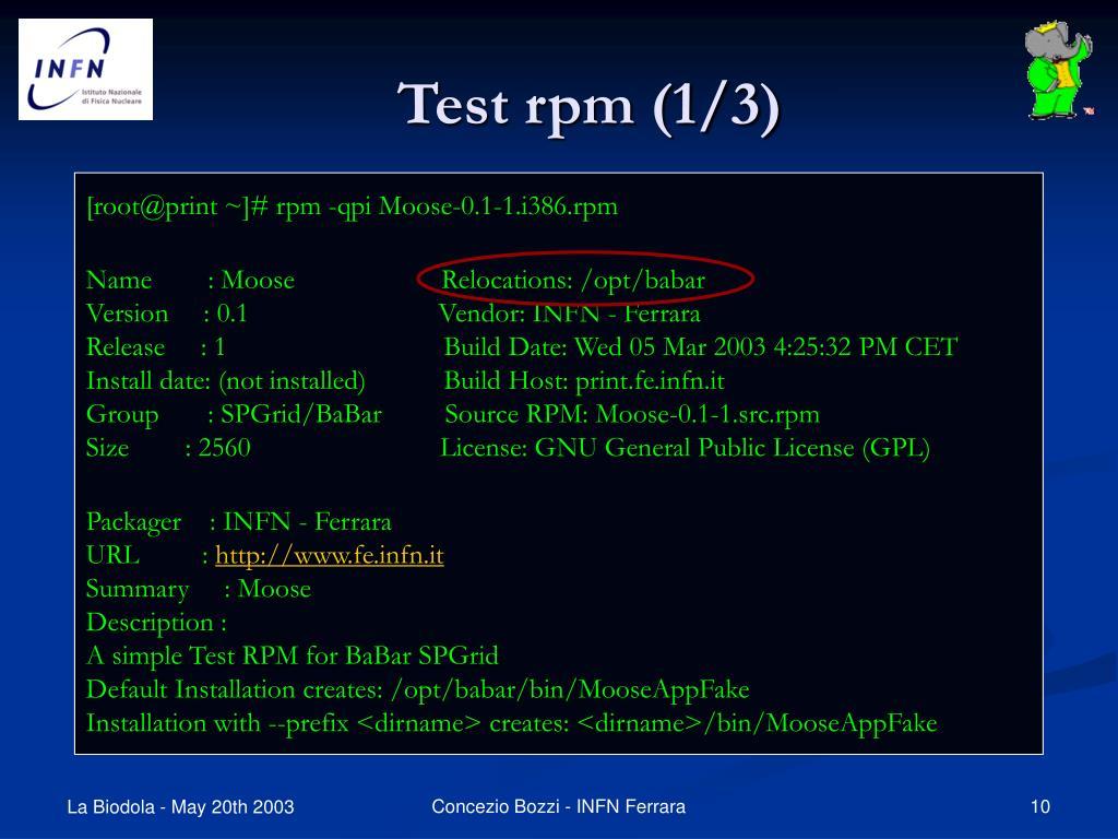 Test rpm (1/3)