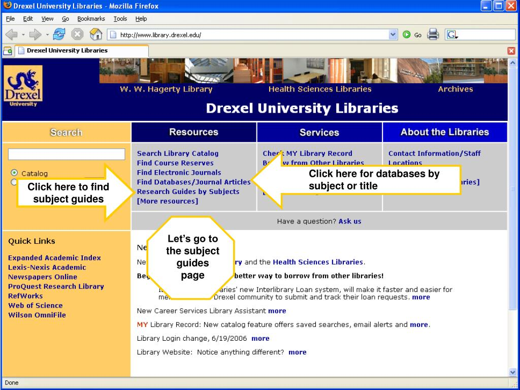 Click here for databases by subject or title