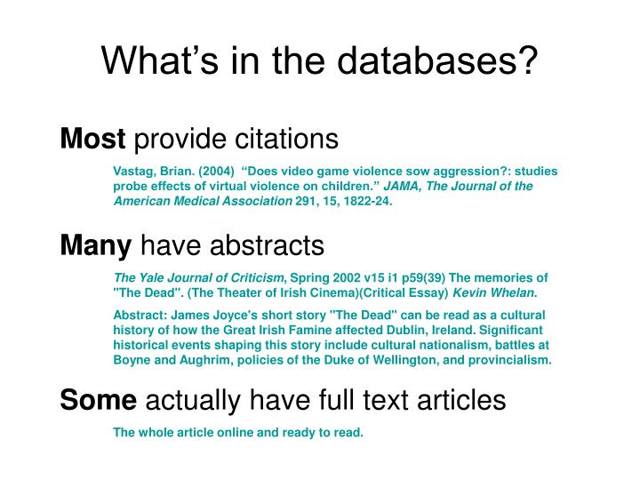 What s in the databases